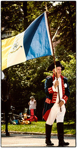 Participate with a Sons of the American Revolution flag in Memorial Day parade on East High Street in Mount Vernon, Ohio. Date: May 28, 2012