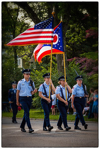 Flag bearers in Memorial Day parade on East High Street in Mount Vernon, Ohio. Date: May 28, 2012