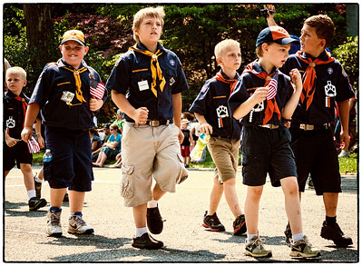 Boy Scouts of America in Memorial Day parade on East High Street in Mount Vernon, Ohio. Date: May 28, 2012