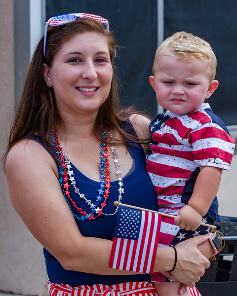 Courtney Russell and one-year-old Chase Burkes were all decked out in their red, white, and blue finery for the Memorial Day parade on Monday morning. Fran Ruchalski/Palatka Daily News