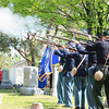 Record-Eagle/Loraine Anderson<br /> Members of the Robert Finch Camp No. 14 of the Sons of Union Veterans of the Civil War fire a salute to veterans of all American wars during Northport's Memorial Day service.