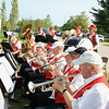 Record-Eagle/Loraine Anderson<br /> Ken Bloomquist, front, a retired band director and head of the School of Music at Michigan State University, plays the trumpet in the Northport Commuinty Band.
