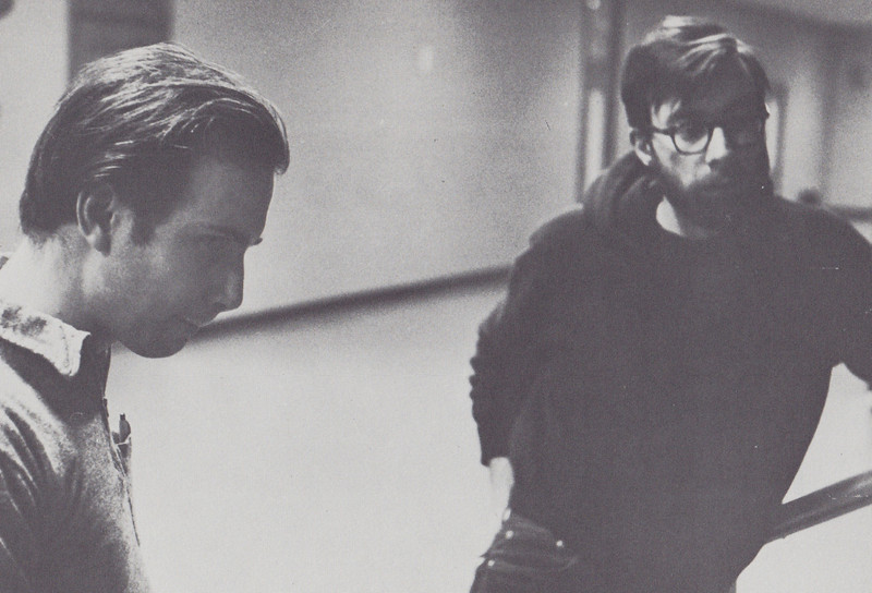 """Rehearsing Carl Oglesby's ( R ) play, """"The Peacemaker,"""" in Ann Arbor November 1964."""