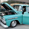 Mary Grzebieniak/NEWS<br /> Paul Knight of New Castle looks under the hood of  this 1959 Chevrolet Apache.  Knight said he used to have some antique cars and enjoys attending the car show.