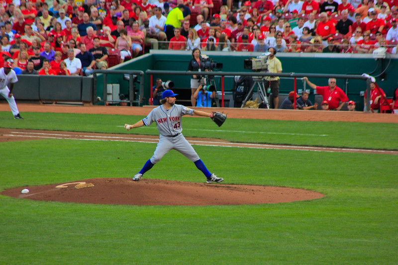Knuckleball<br /> You can see Dickey's fingers gripping the ball to form a knuckleball pitch.
