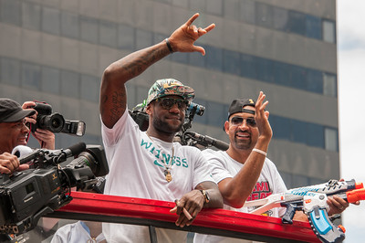 LeBron James with Juwan Howard (Holding water gun)