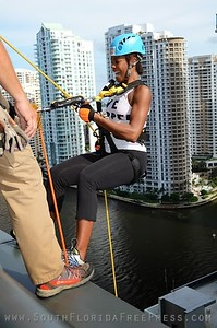 "Jazz Superstar, Nicole Henry, prepares to take her first step ""Over The Edge"" at the JW Marriot Marquis in downtown Miami, Sept. 5, 2013."