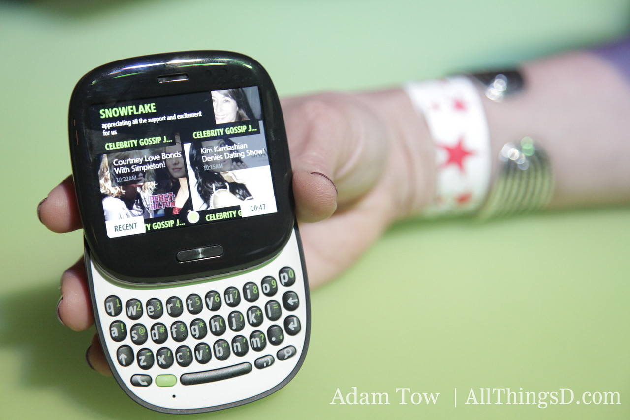The Kin One is a squarish phone that is easy to hold in your hand.