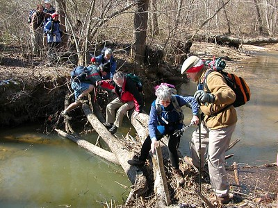 Bridge Out!  Resourceful hikers find a way!