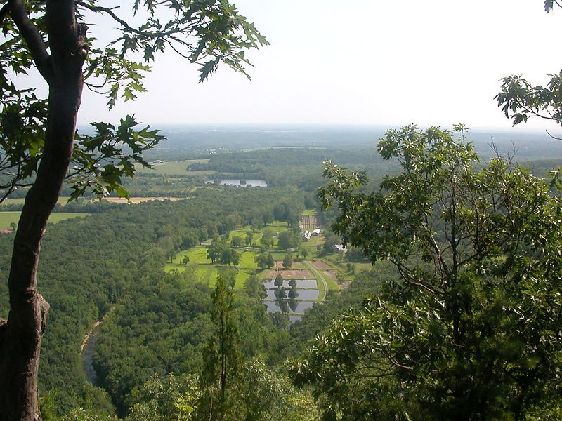 View of entry to Fort Valley and the fish hatchery. Taken from vicinity of Buzzad Rock.