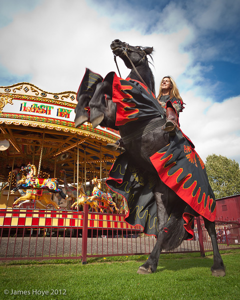 This horse can rear on command, and the Gallopers make a fine backdrop