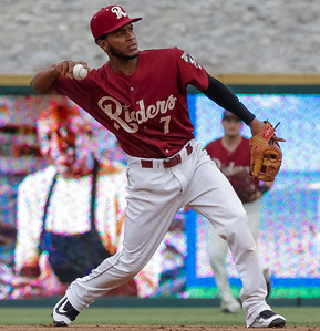Frisco RoughRiders' Alberto Triunfel throws the ball to first base in the second inning of a game against the Midland RockHounds at Dr. Pepper Ballpark in Frisco, Texas, Sunday, May 8, 2016. (Photo by Sam Hodde)