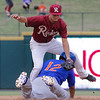 Midland RockHounds' Yairo Munoz steals second base in the ninth inning of a game against the Frisco RoughRiders at Dr. Pepper Ballpark in Frisco, Texas, Sunday, May 8, 2016. Isiah Kiner-Falefa (4) was unable to apply the tag in time. (Photo by Sam Hodde)