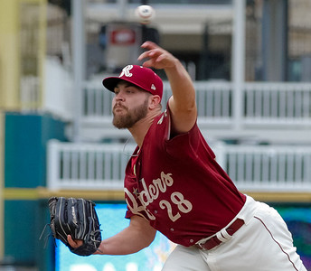 Frisco RoughRiders' Ryne Slack delivers a pitch in the ninth inning of a game against the Midland RockHounds at Dr. Pepper Ballpark in Frisco, Texas, Sunday, May 8, 2016. (Photo by Sam Hodde)