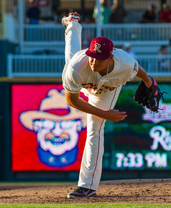 Frisco RoughRiders' Luis Ortiz delivers a pitch in an MiLB game against the Corpus Christi Hooks at Dr. Pepper Ballpark in Frisco, Texas, Thursday, June 23, 2016. (Photo by Sam Hodde)