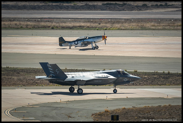 Planes of different generations.  The P-51 had multiple versions produced throughout WWII and was used through the Korean War as well.  The F-35, while a technical marvel of engineering, has been plagued by continual cost overruns and complete groundings due to safety issues.