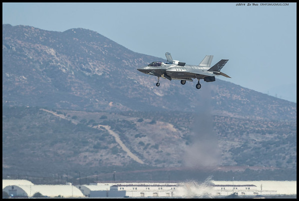 The F-35 demonstrating the VTOL landing capability.  They say it also roasts marshmallows quite well but leaves behind an unfortunate JP-8 flavoring.