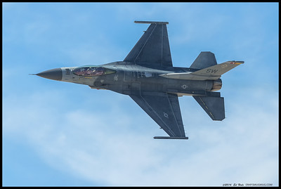 The F-16 used for the Heritage flight did some showing off before meeting up with the P-51.