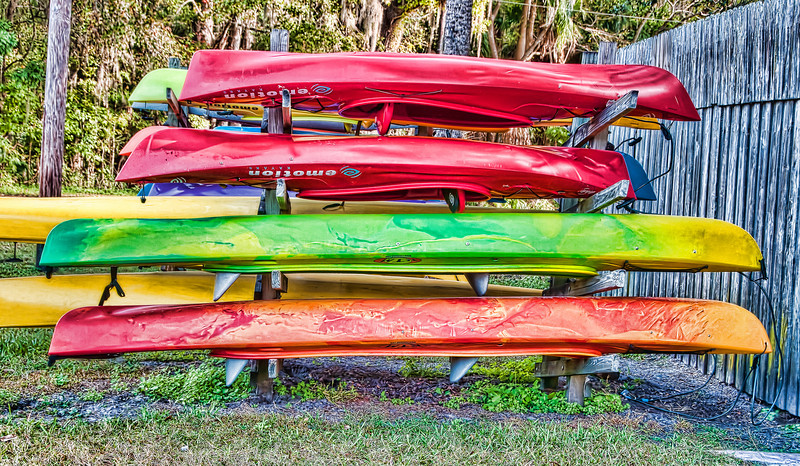 • DeLeon Springs State Park<br /> • Colorful canoes<br /> • Post HDR