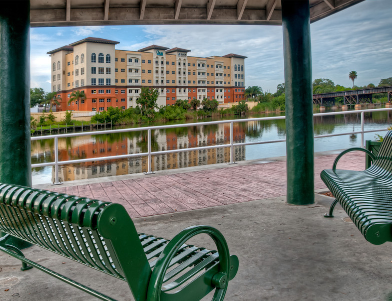 • Post HDR<br /> • I took this photo to show more tonal range in the covered sitting area and the Olser Medical building.  This was also taken to enhance the clouds in the background.
