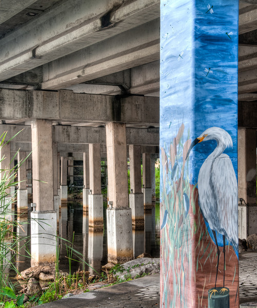 • Post HDR<br /> • This photo was taken under US1 bridge which E. Melbourne Ave. goes under so I could see more details in painting of the Egret and structure under the bridge.