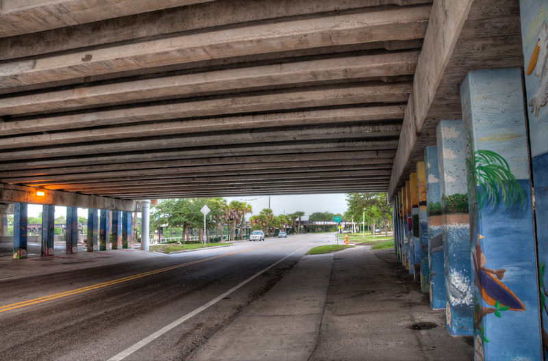 • Post HDR<br /> • This photo was taken underneath the US1 bridge where E Melbourne goes through it.  I wanted to see the detail under the bridge and more details in the trees, in the distance.