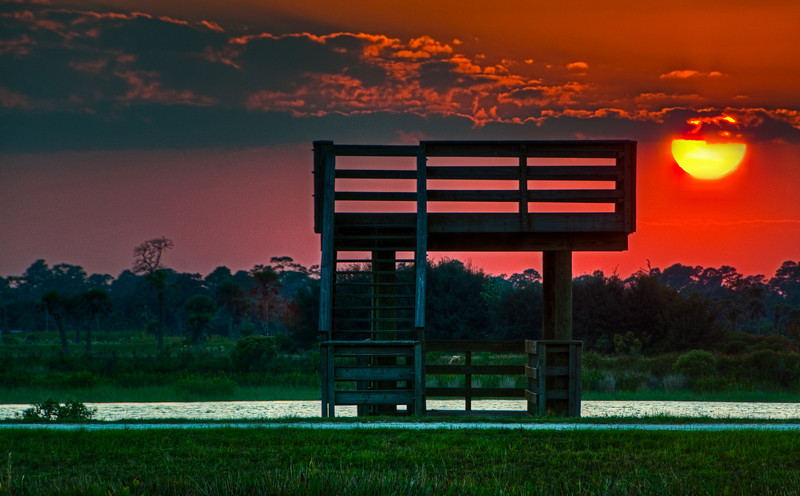 Sunset at the Viera Wetlands - Processed using