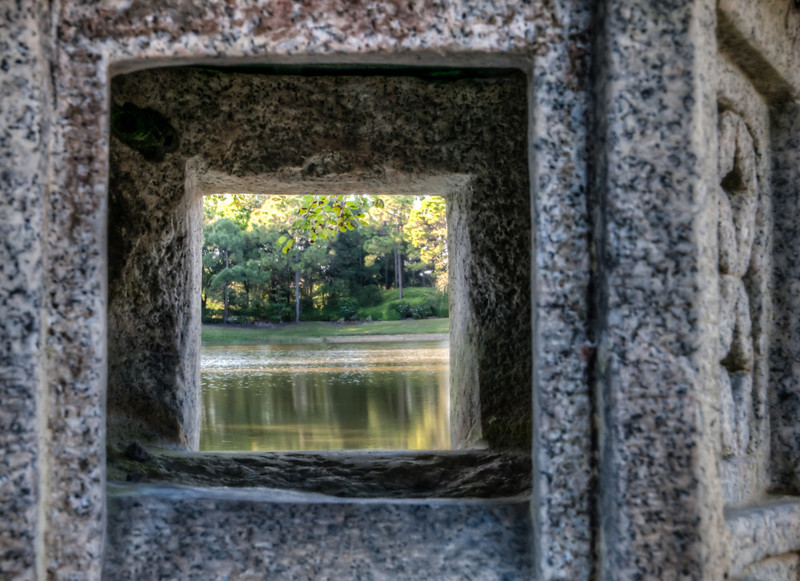 • Morikami Museum and Japanese Gardens<br /> • Scenic shot, looking through one of the art object.