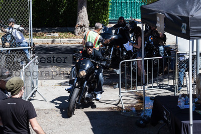 Charlie Hunnam from tv's Sons Of Anarchy rides into the Boot Ride event 8-26-12