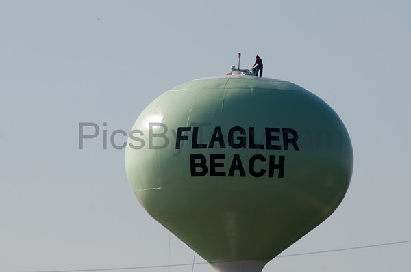 Flagler Beach Water Tower being painted on 8/30/2013  and 8/31/2013