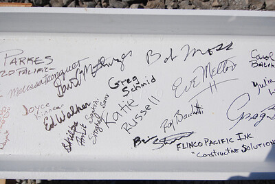 Signatures on the beam.
