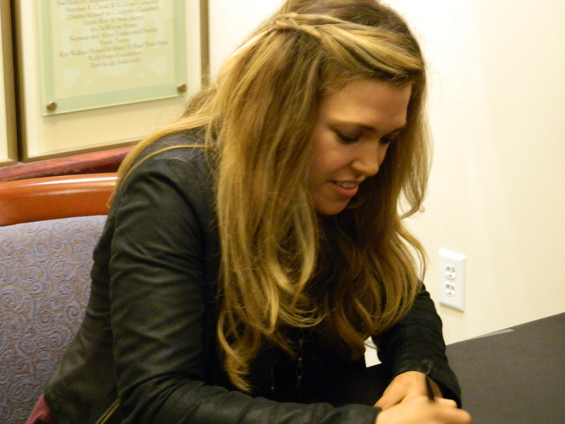 Singer Rachel Platten signs autographs for fans.