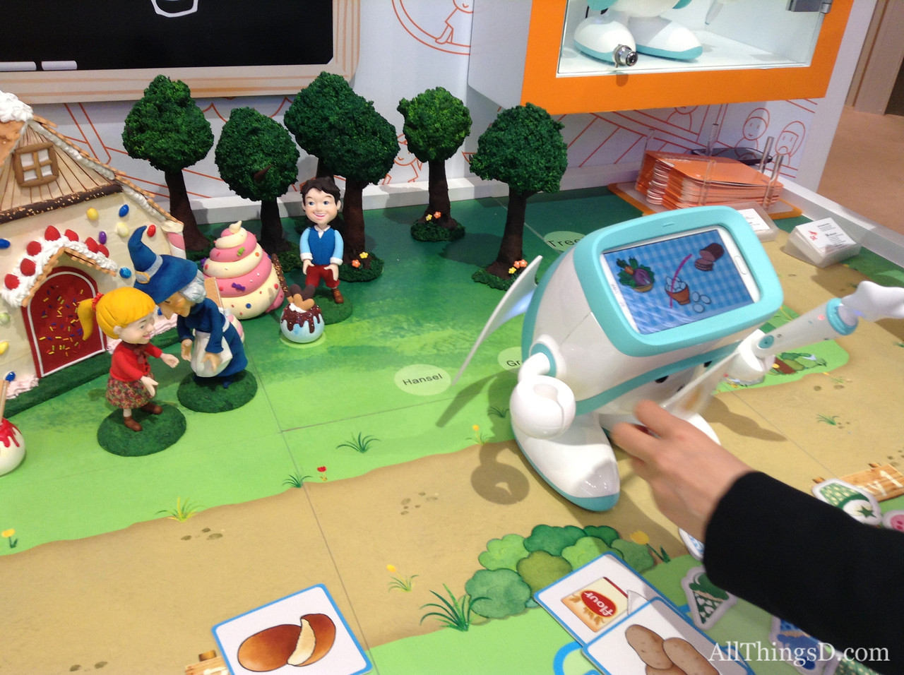 The SK Telecom robot, due out later this year, can interact with specially tagged objects, such as this one.