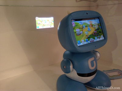 This updated version of Korea Telecom's robot adds a rear projector, seen here, as well as voice recognition.