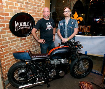 Tim Burke and Jimmy Baker with 'Barbarossa' the bike built by the Cincinnati Cafe Racer club and raffled off Saturday Night