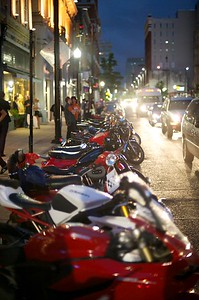 Main Street is filled with bikes Saturday Night for the 2013 Queen City Mods vs. Rockers Rally