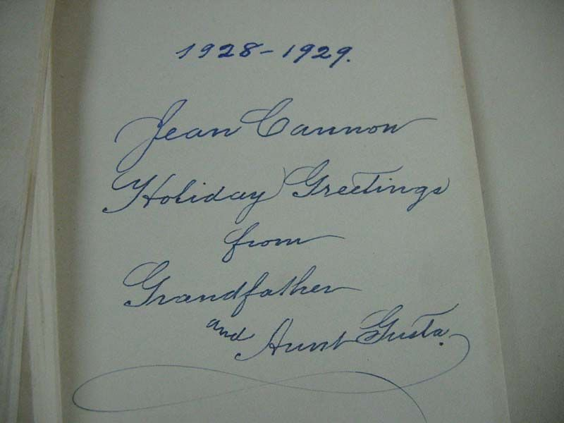 A closeup of book signed by Grandfather (Heber J. Grant) and given to Mom's mother Jean at Christmas 1928.