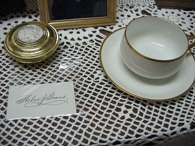 Paperweight, cup and card used by Pres. Grant