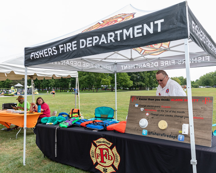 Fisher Fire Department at the Monsoon Madness event at Roy Holland Memorial Park in Fishers, Indiana on July 31, 2021. Photography by Tony Vasquez.