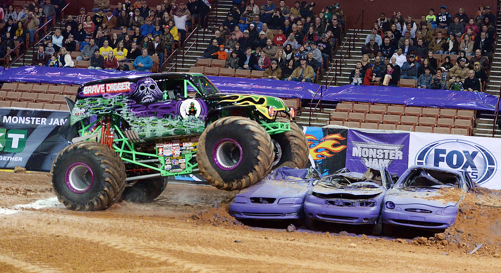 A large crowd enjoyed the Monster Jam at Bon Secours Wellness Arena in Greenville Friday night, January 24, 2014. The show continues tonight at 7:30 p.m. For more photographs visit GoUpstate.com and the Spartanburg Herald-Journal.  GWINN DAVIS / FOR SPARTANBURG HERALD-JOURNAL GWINN DAVIS PHOTOS gwinndavisphotos.com (website) (864) 915-0411 (cell) gwinndavis@gmail.com  (e-mail)  Gwinn Davis (FaceBook) National Press Photographers Association