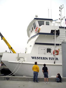 MBARI's big ship is the twin-hull Western Flyer. The twin hull gives it stability, which helps prevent seasickness, which is important when you're one of the 10 scientists on board trying to accomplish a lot of scientificky things in a short time.