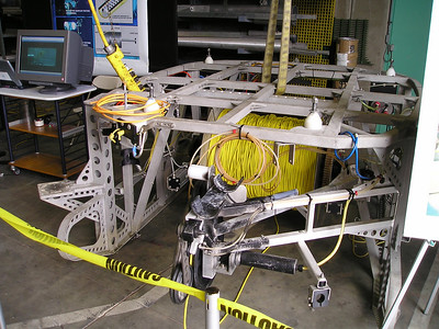 This is a cable-laying sled that attaches to the underside of the ROV.  This one is cool because they're gradually in the process of wiring the Monterey Bay canyon and the ocean floor around it and eventually there could be tens of thousands of miles of cable under the various oceans to help us experience a world that it's hard to put people into.
