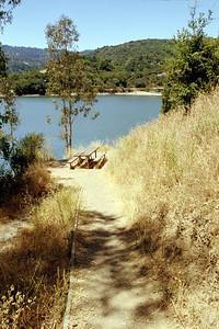 Lexington Reservoir, path, and picnic table