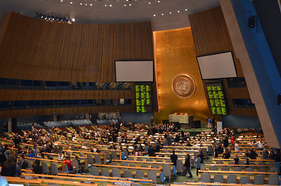 Gathering into the UN general assembly hall.