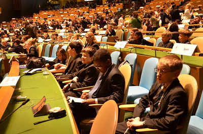 Readying for the final session in the general assembly hall.