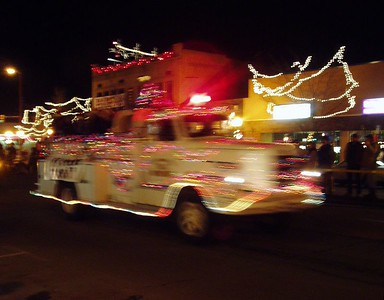 Hard to take light parade photos without a tripod, but I tried