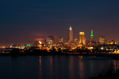 Supermoon Rises Over Cleveland