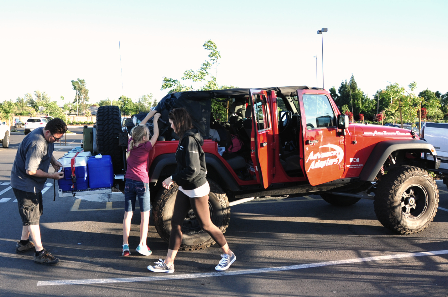 Last minute packing in the Walmart parking lot.  Clovis, CA.