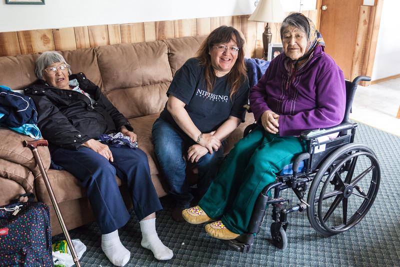 Elizabeth Kaysook, Denise Metatawabin, Theresa Metatawabin in Moose Factory.