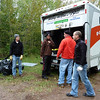 The aid station set-up crew, led by Scott Wagner (orange/red shirt)